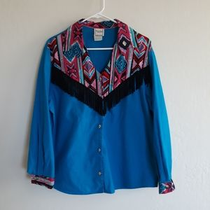 Vintage Western Plains button down shirt fringe